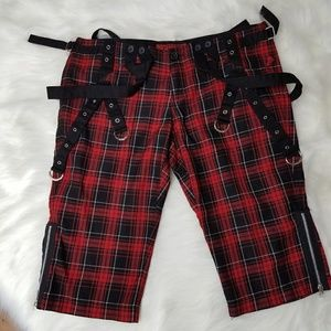 TRIPP NYC Hot Topic Red Black Capri 3/4 Pants S 11
